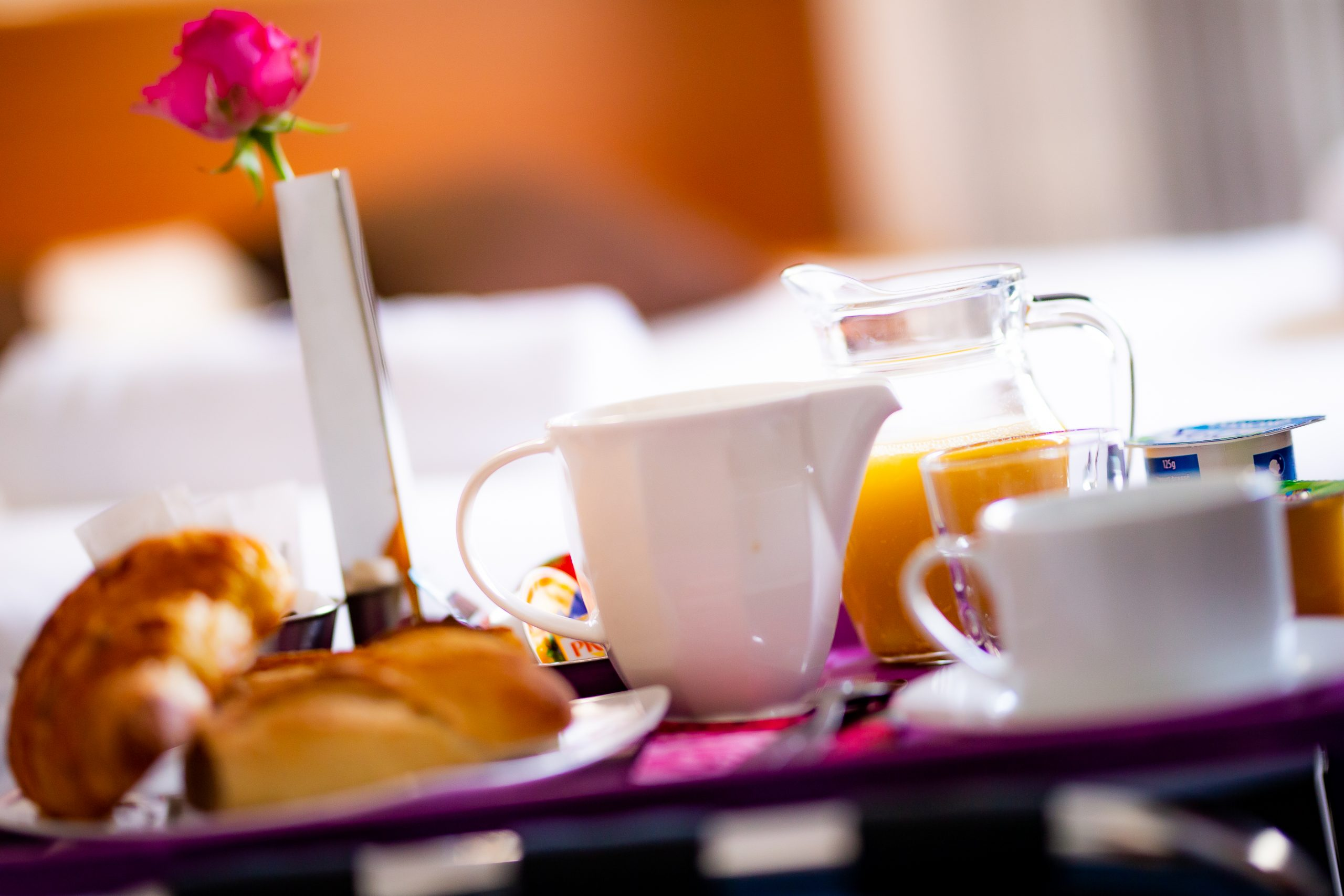 Breakfast tray served in the dining room or in your room