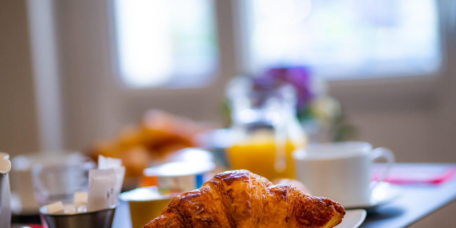 Nous proposons un petit déjeuner à la Française servi à table avec une boisson chaude, jus d'orange, croissant, 1/2 baguette tradition, yaourt, compote, beurre, confiture, nutella, céréales, fruits